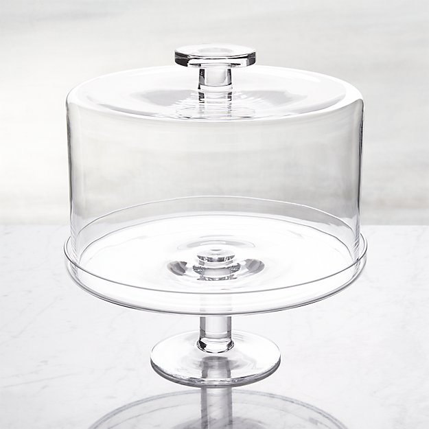 Crate & Barrel clear glass cake pedestal with dome