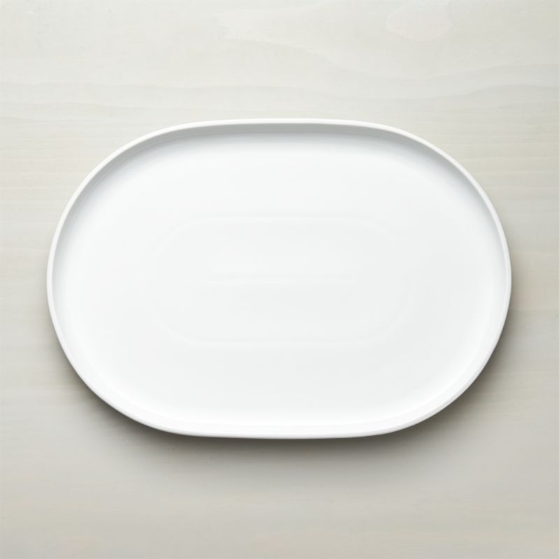form white oval serving platter crate and barrel