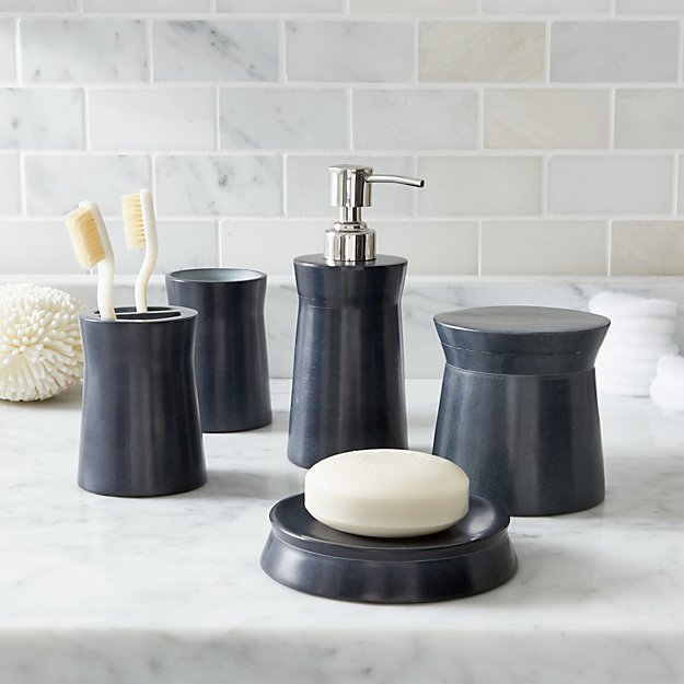 Soapstone navy blue bathroom accessories crate and barrel for Where to get bathroom accessories