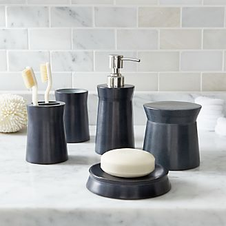 Bathroom accessories and furniture crate and barrel for Soapstone bathroom accessories