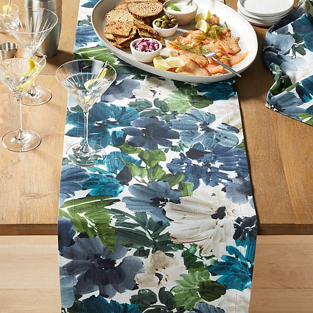 Francesca 90 Blue Floral Table Runner Reviews Crate And Barrel