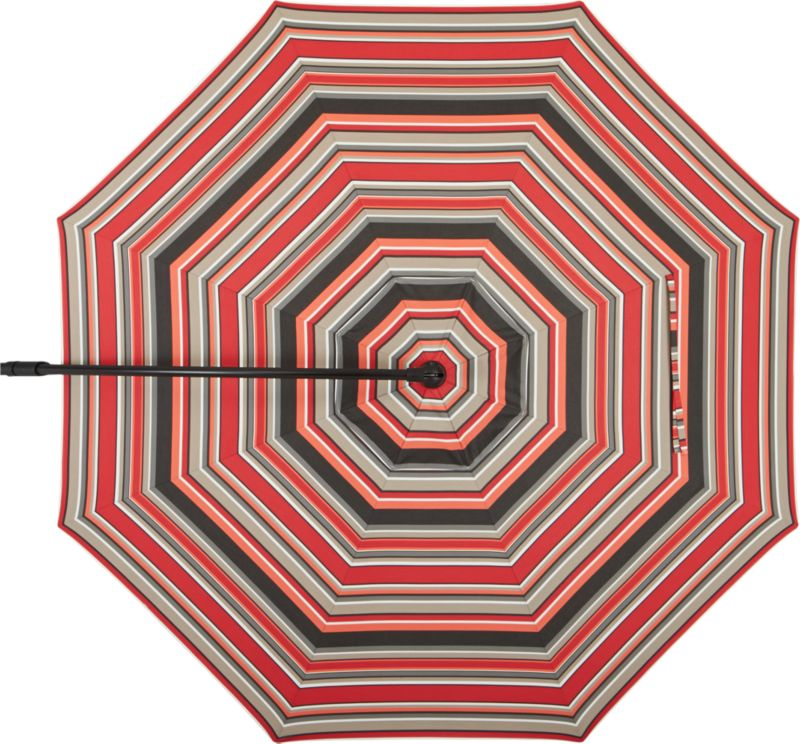 A smart canopy of stripes thick and thin in white, tonal reds and shades of grey Sunbrella acrylic fabric blocks out 98% of the sun's UV rays.<br /><br /><NEWTAG/><ul><li>Fade- and mildew-resistant Sunbrella acrylic</li><li>Fits our 10' Round Black Free-Arm Umbrella Frame with Base</li><li>Made in USA</li></ul>