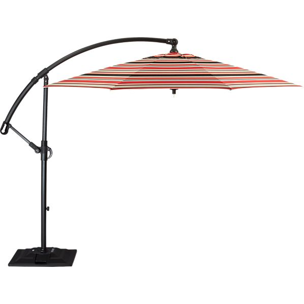 10' Round Sunbrella ® Red Multi Stripe Free-Arm Umbrella with Base
