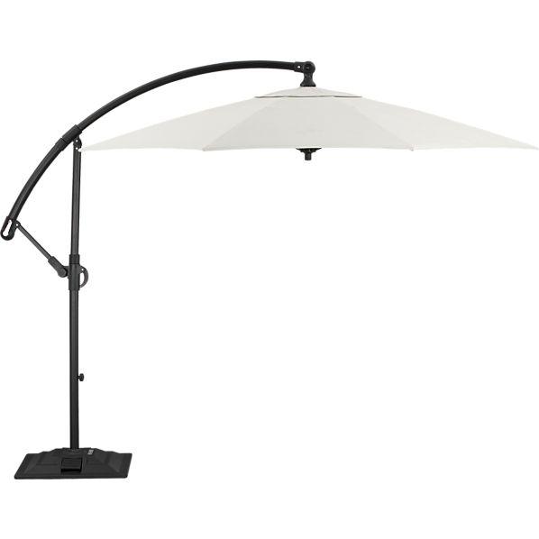10' Round Sunbrella ® White Sand Free-Arm Umbrella with Base