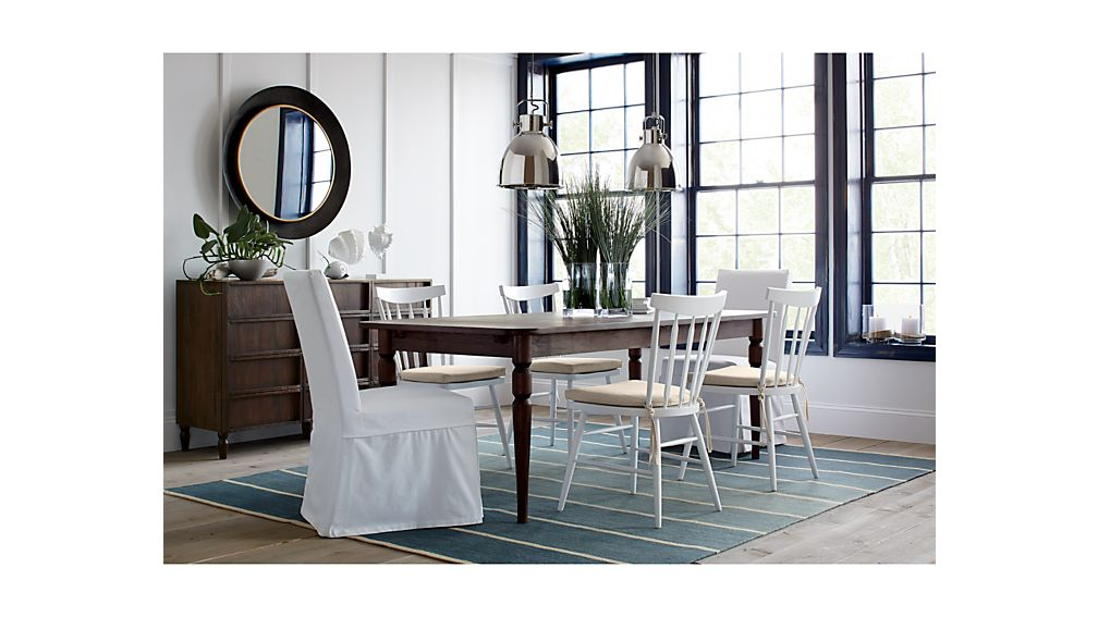 white wood dining table and chairs. FremontDiningCollectnMR15  BasqueDiningCollectionA214 GalvinDiningCollectionSFB17 PranzoIIVamelieDngCltnAPF15 ParsonsDiningTblSlpChrJL11 Slip White Slipcovered Dining Chair Crate and Barrel