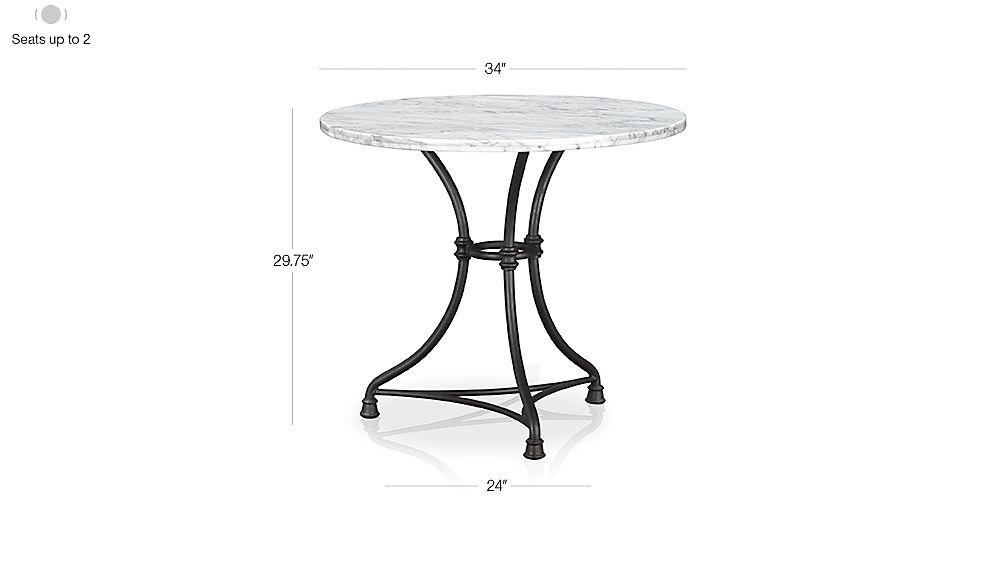 Image with dimension for French Kitchen Round Bistro Table