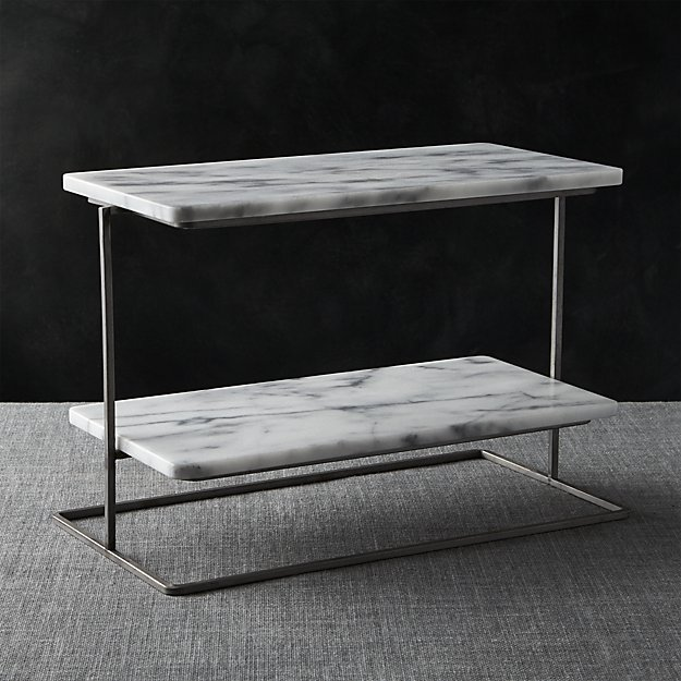 Unique French Kitchen Marble 2-Tier Server + Reviews | Crate and Barrel KS95