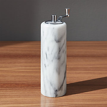 Acacia Wooden Keeper with Marble Lid Salt Pepper Pig White and Black