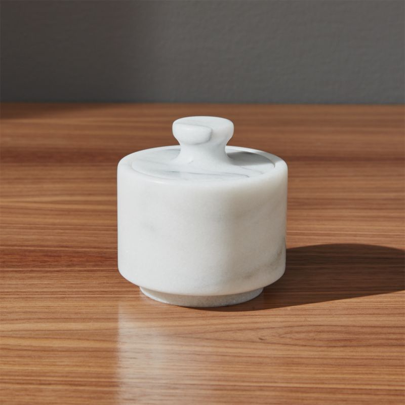 French Kitchen Marble Salt Cellar by Crate&Barrel