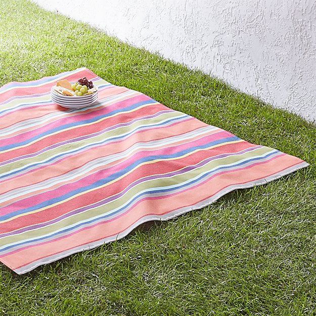 "French Stripe 60"" Square Picnic Blanket"