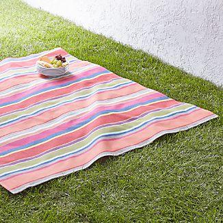 """French Stripe 60"""" Square Picnic Blanket"""