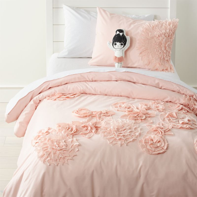 Fresh cut floral girls bedding crate and barrel for Crate barrel comforter
