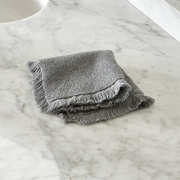 Grey Fringe Washcloth