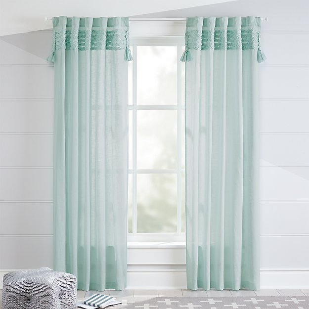 Fringe Mint Curtains Crate And Barrel
