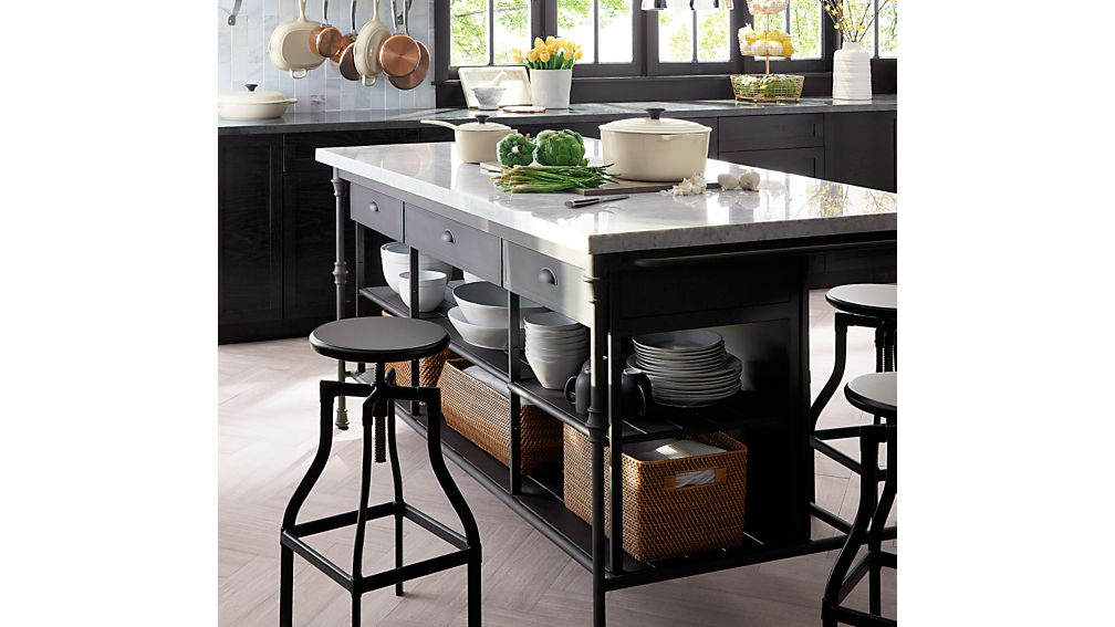 Turner Black Adjustable Backless Counter Stool