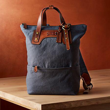 1b0e7788 Frye Blue-Grey Canvas Backpack ™