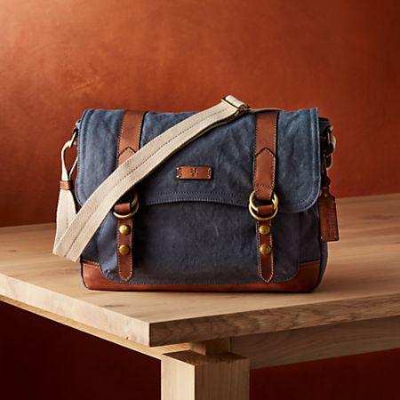 4a0b8f05 Frye Blue-Grey Canvas Messenger Bag + Reviews | Crate and Barrel