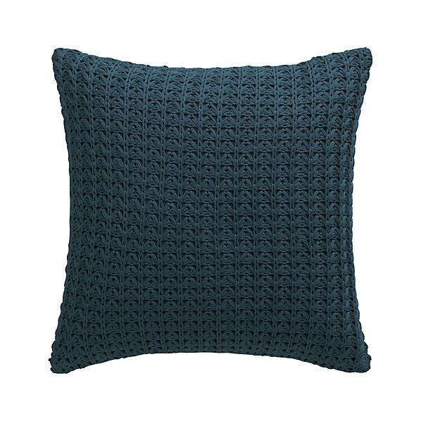 "Fujita Blue 18"" Pillow with Feather-Down Insert"