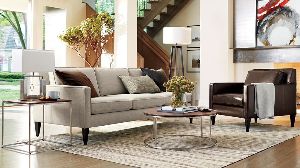 Best Crate And Barrel Sofa Axis Ii Grey 2 Seat Couch