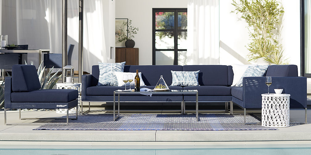 Dune Navy Lounge Collection. Outdoor Furniture Sets   Crate and Barrel