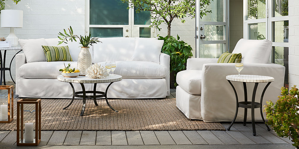 Lounge II Petite Outdoor Slipcovered Collection. Outdoor Furniture Sets   Crate and Barrel