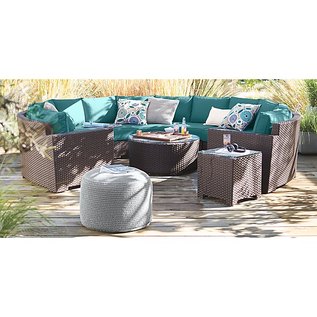 grey outdoor pouf in poufs reviews crate and barrel. Black Bedroom Furniture Sets. Home Design Ideas