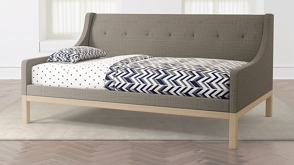 gallery grey upholstered daybed reviews crate and barrel. Black Bedroom Furniture Sets. Home Design Ideas