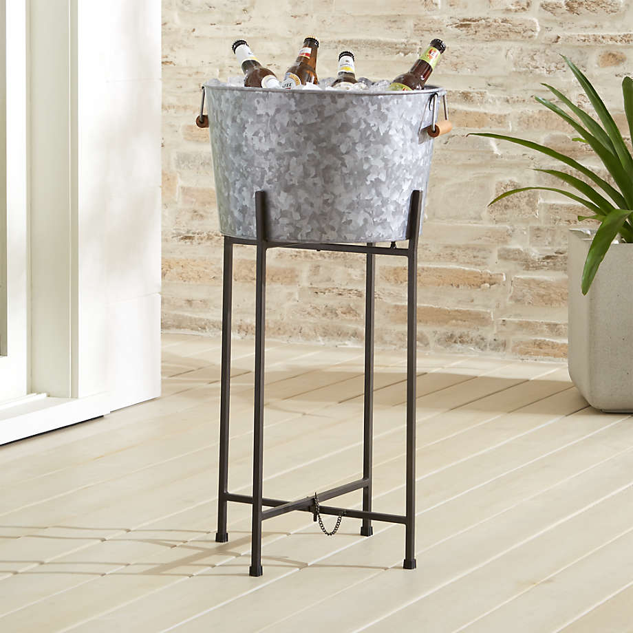 Galvanized Beverage Tub With Black Stand Crate And Barrel