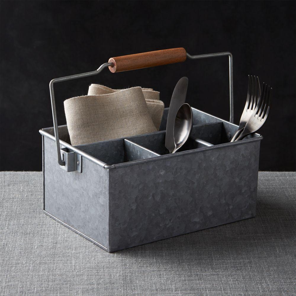 Galvanized Flatware Caddy - Crate and Barrel