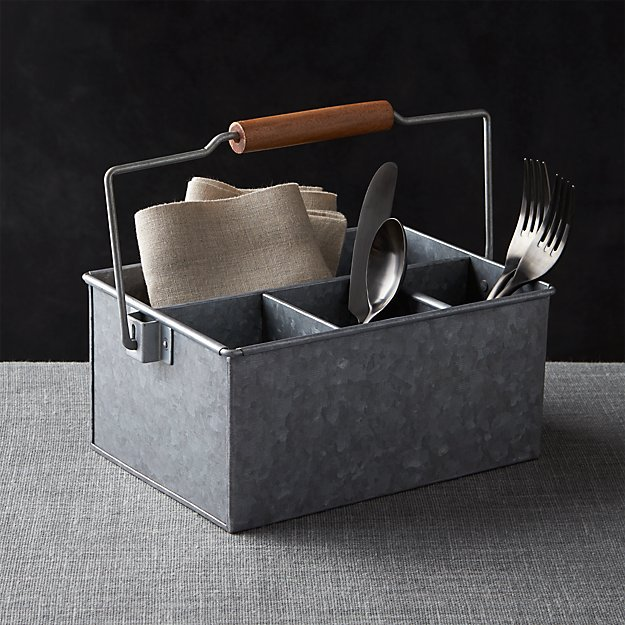 Galvanized Flatware Caddy Reviews Crate And Barrel