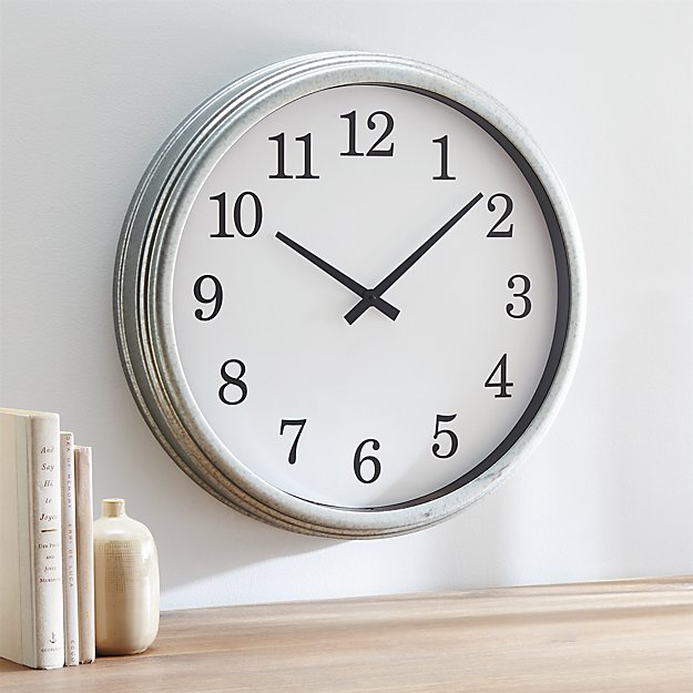 Galvanized Wall Clock Crate And Barrel