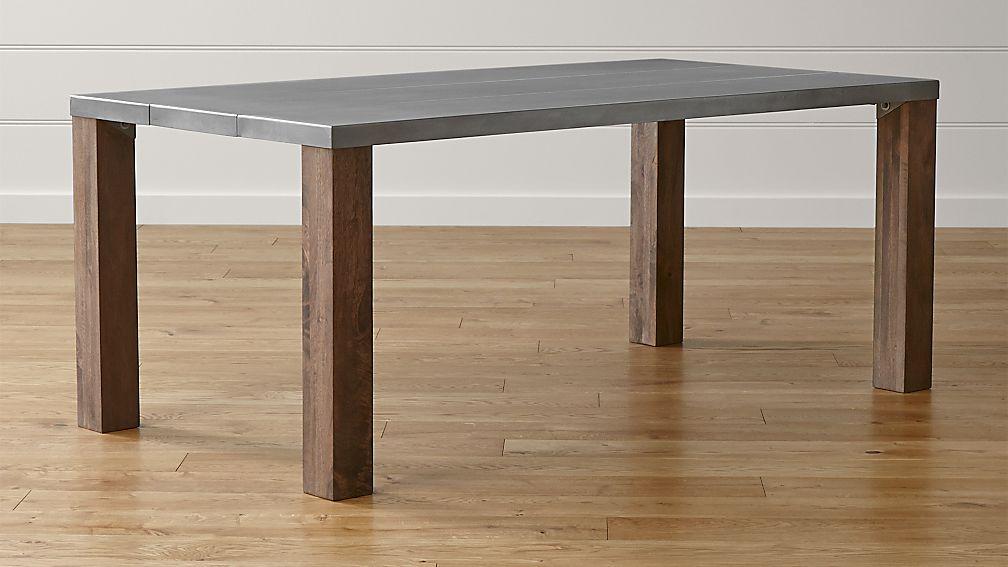metal top dining table Galvin Metal Top Dining Table | Crate and Barrel metal top dining table