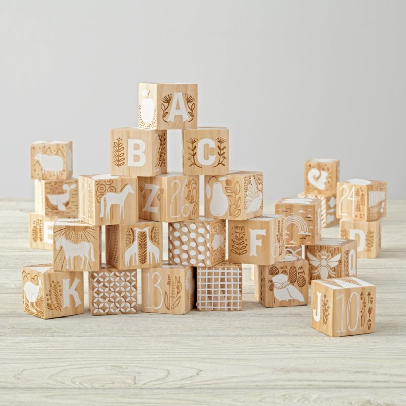 Etched Wooden Blocks Reviews Crate And Barrel