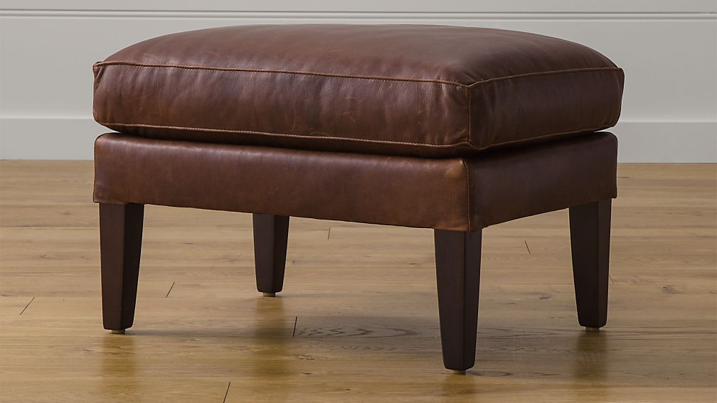 Garbo Leather Ottoman - Image 1 of 2