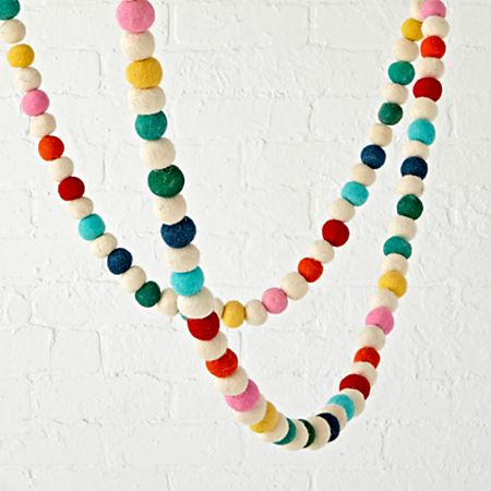 Christmas Ball Garland.Rainbow Felt Ball Garland