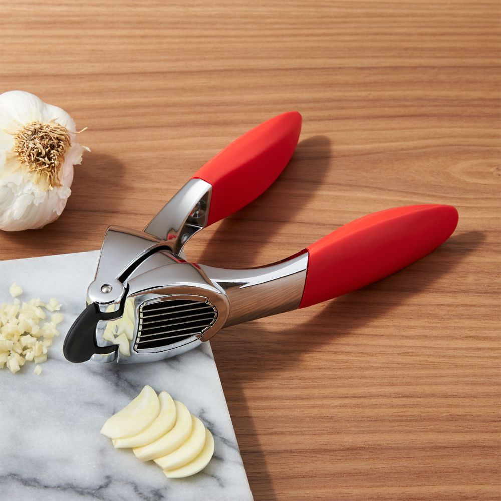 Red Garlic Press & Slice - Crate and Barrel