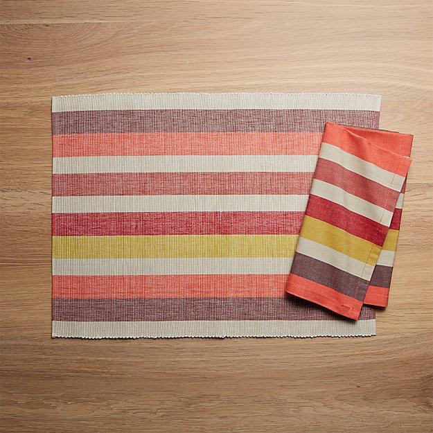 Garner Stripe Placemat and Napkin