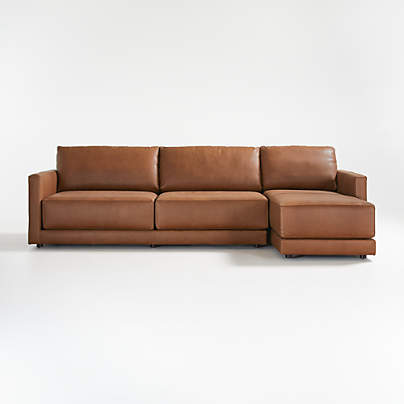 View testGather Leather 2-piece sectional: Left Arm Sofa, Right Arm Chaise