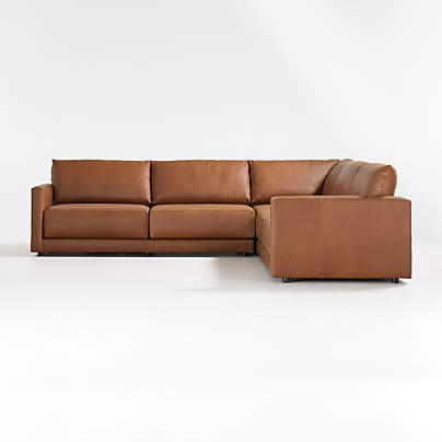 View testGather Leather 3-Piece Sectional