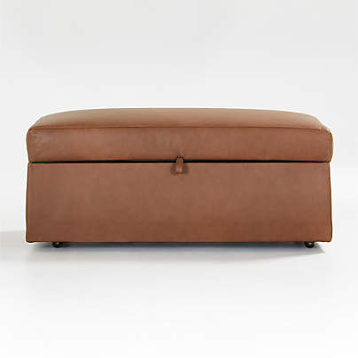 View testGather Leather Storage Ottoman