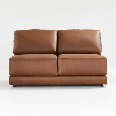 View testGather Leather Armless Loveseat