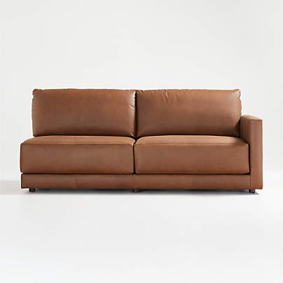 View testGather Leather Right-Arm Sofa