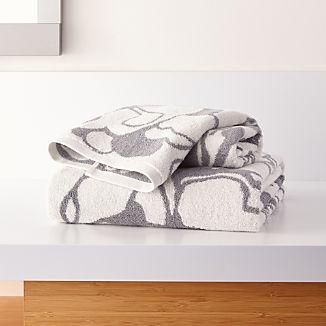 Gemma Grey Organic Floral Bath Towels