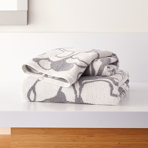 Gemma Grey Organic Floral Bath Towels - Image 1 of 3