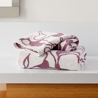 Gemma Mauve Organic Floral Bath Towels
