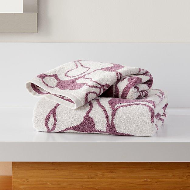 Gemma Mauve Organic Floral Bath Towels - Image 1 of 3