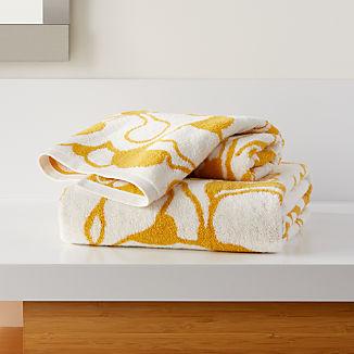 Gemma Yellow Organic Floral Bath Towels