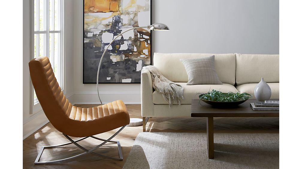 Genesis Sofa with Brushed Brass Base