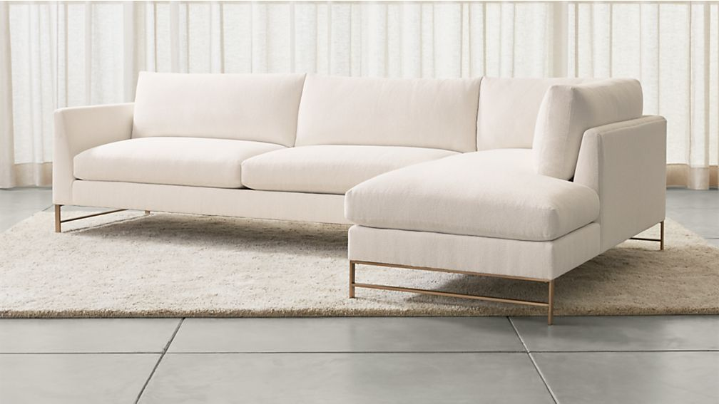 Genesis 2-Piece Right Arm Chaise Sectional with Brushed Brass Base