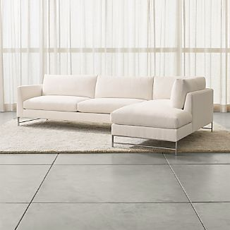 Genesis 2-Piece Right Arm Chaise Sectional with Brushed Stainless Steel Base